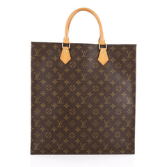 Louis Vuitton Sac Plat Handbag Monogram Canvas GM Brown 1855505