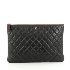 Chanel O Case Clutch Quilted Caviar Large Black