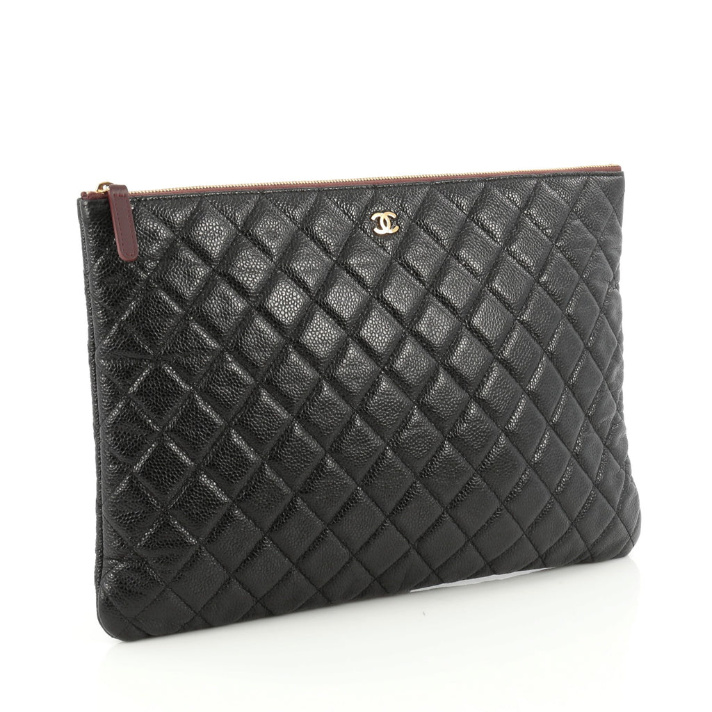 Buy Chanel O Case Clutch Quilted Caviar Large Black