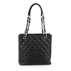 Chanel Petite Shopping Tote Quilted Caviar Black