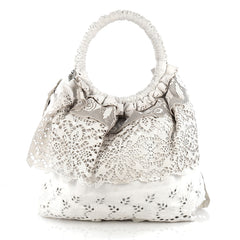 Valentino Laceland Handbag Laser Cut Leather White