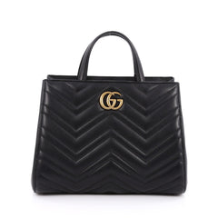 Gucci GG Marmont Tote Matelasse Leather Small Black 1857605