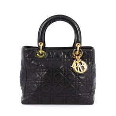 Christian Dior Lady Dior Handbag Cannage Quilt Grained 1857810