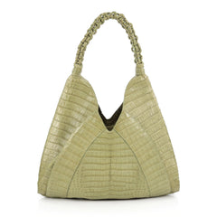 Nancy Gonzalez Braided Handle Hobo Crocodile Small Green
