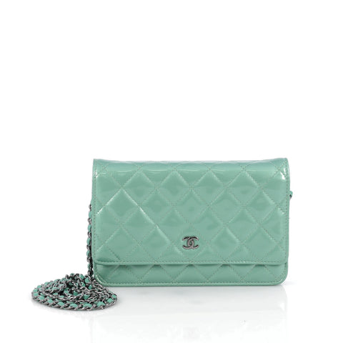 1573fa53cfcdb3 Buy Chanel Wallet on Chain Quilted Patent Green 1861703 – Rebag