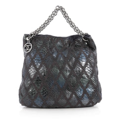 Chanel Soft and Chain Hobo Quilted Python Large Blue 1864603