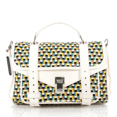 Proenza Schouler PS1 Satchel Woven Leather Medium White