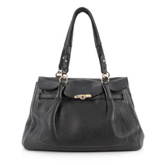 Salvatore Ferragamo Fara Satchel Leather Large Black