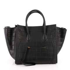 Celine Phantom Handbag Crocodile Embossed Leather Medium Black