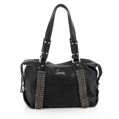 Christian Louboutin Morrigan Capra Tote Spiked Leather Medium Black