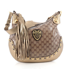 Gucci Babouska Heart Hobo GG Coated Canvas Large Brown