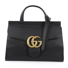 Gucci Marmont Top Handle Bag Leather Small Black 1888702
