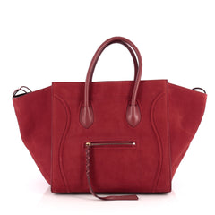 Celine Phantom Handbag Nubuck Medium Red 1889502