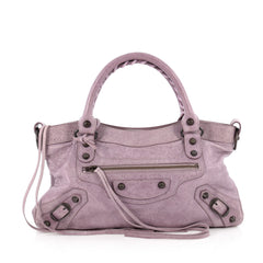 Balenciaga First Classic Studs Handbag Leather Purple 1889603