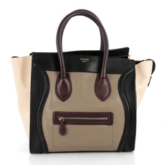 Celine Multicolor Luggage Handbag Leather Mini Brown