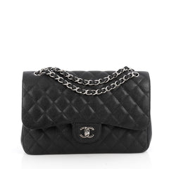 Chanel Classic Double Flap Bag Quilted Caviar Jumbo 1889702