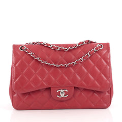 Chanel Classic Double Flap Bag Quilted Caviar Jumbo Red 1889705