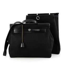 Hermes Herbag Toile and Leather MM Black