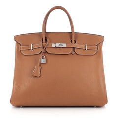 Hermes Birkin Handbag Brown Clemence with Palladium Hardware 40 Brown