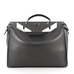 Fendi Selleria Peekaboo Monster Handbag Leather XL Gray 1891301