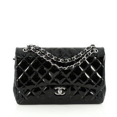 Chanel Classic Double Flap Bag Quilted Patent Jumbo 1892101