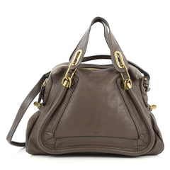 Chloe Paraty Top Handle Bag Leather Medium Gray 1893601