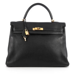 Hermes Kelly Handbag Black Clemence with Gold Hardware 1893801