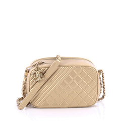 Chanel Coco Boy Camera Bag Quilted Leather Small Gold 1896001
