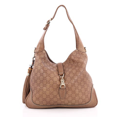 Gucci New Jackie Handbag Guccissima Leather Medium Brown