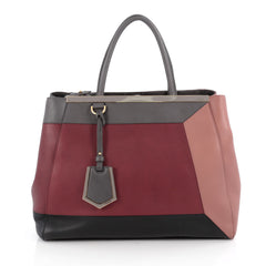Fendi Color Block 2Jours Handbag Leather Medium Red
