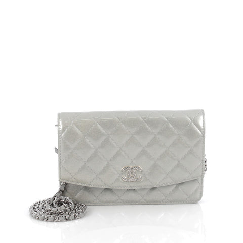 4258d1abcef990 Buy Chanel Brilliant Wallet on Chain Quilted Patent Gray 1906503 – Rebag
