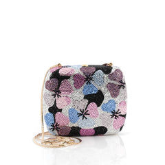 Judith Leiber Floral Minaudiere Crystal Small Silver