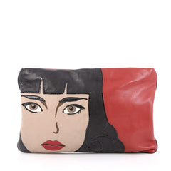 Prada 50's Graphic Clutch Nappa Leather Red