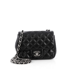 Chanel Square Classic Single Flap Bag Quilted Lambskin Mini Black