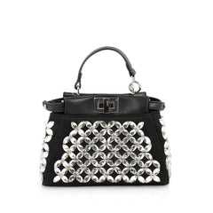Fendi Peekaboo Handbag Crystal Embellished Satin Micro Black