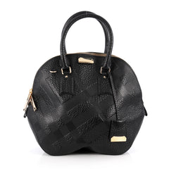 Burberry Orchard Bag Embossed Check Leather Medium Black