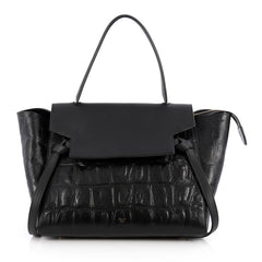 Celine Belt Bag Crocodile Embossed Leather Medium Black