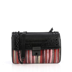 Bottega Veneta Glass Shoulder Bag Python with Embellished Detail Small Black