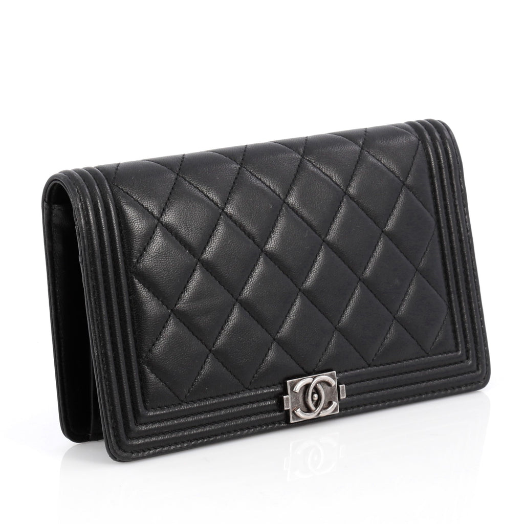 5bb5fd9f4bc Buy Chanel Boy Yen Wallet Quilted Lambskin Brown 1917102 .