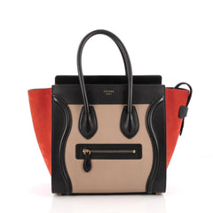 Celine Tricolor Luggage Handbag Leather Micro Black 1923402