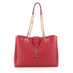 Saint Laurent Classic Monogram Shopper Matelasse Chevron Leather Large Red 1923406
