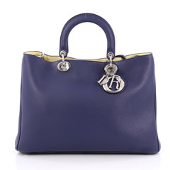 Christian Dior Diorissimo Tote Pebbled Leather Large Blue
