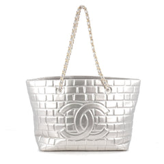 Chanel Frozen Tote Quilted Vinyl Large Silver 1928102