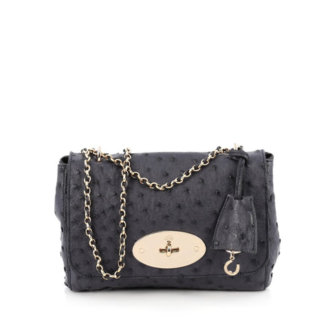 a73abafb22 Buy Mulberry Lily Chain Flap Bag Ostrich Small Blue 1929401 – Rebag