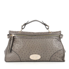 Mulberry Taylor Satchel Ostrich Large Gray 1929402
