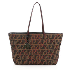 Fendi Roll Tote Quilted Zucca Canvas Large Brown