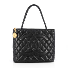 Chanel Medallion Tote Quilted Caviar Black 1939401