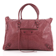 Balenciaga Weekender Classic Studs Handbag Leather Red