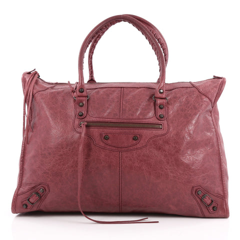 4a38516182 Buy Balenciaga Weekender Classic Studs Handbag Leather Red 1944419 – Rebag