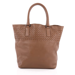 Bottega Veneta Open Tote Leather with Intrecciato Detail Medium Brown 1944801